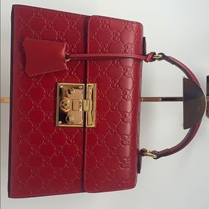 NEW Gucci red padlock top handle bag